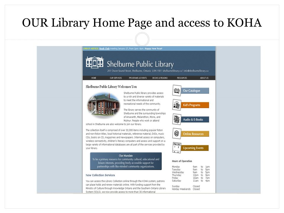 OUR Library Home Page and access to KOHA