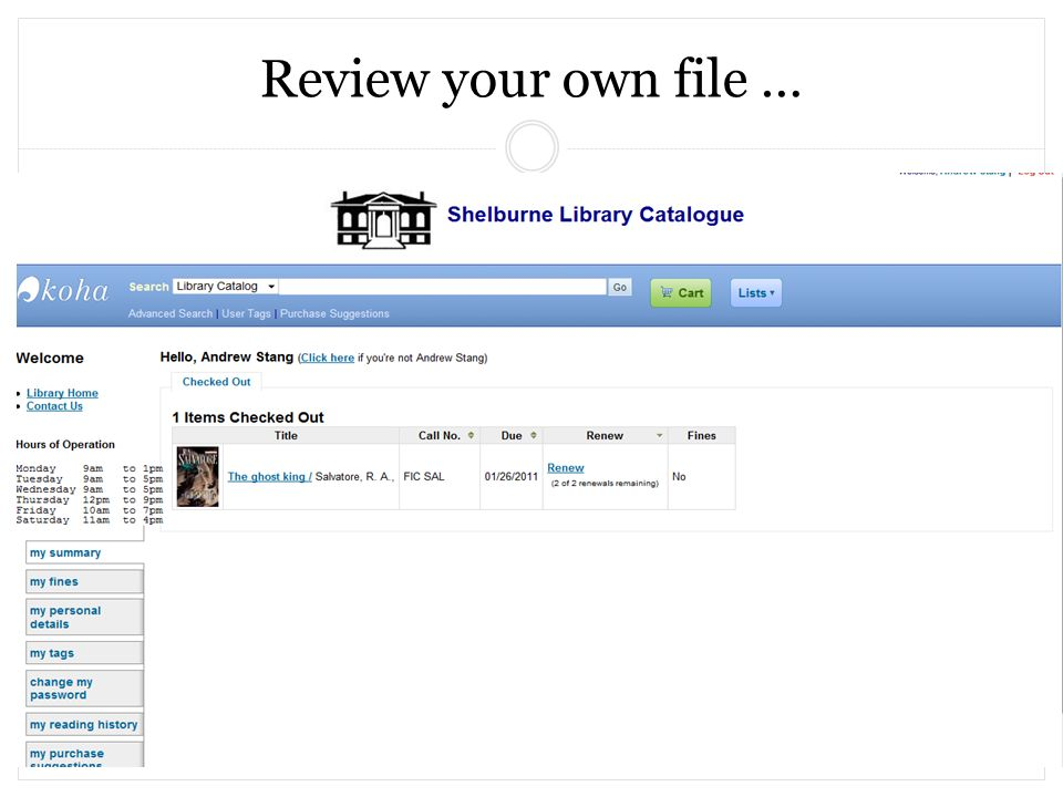 Review your own file …