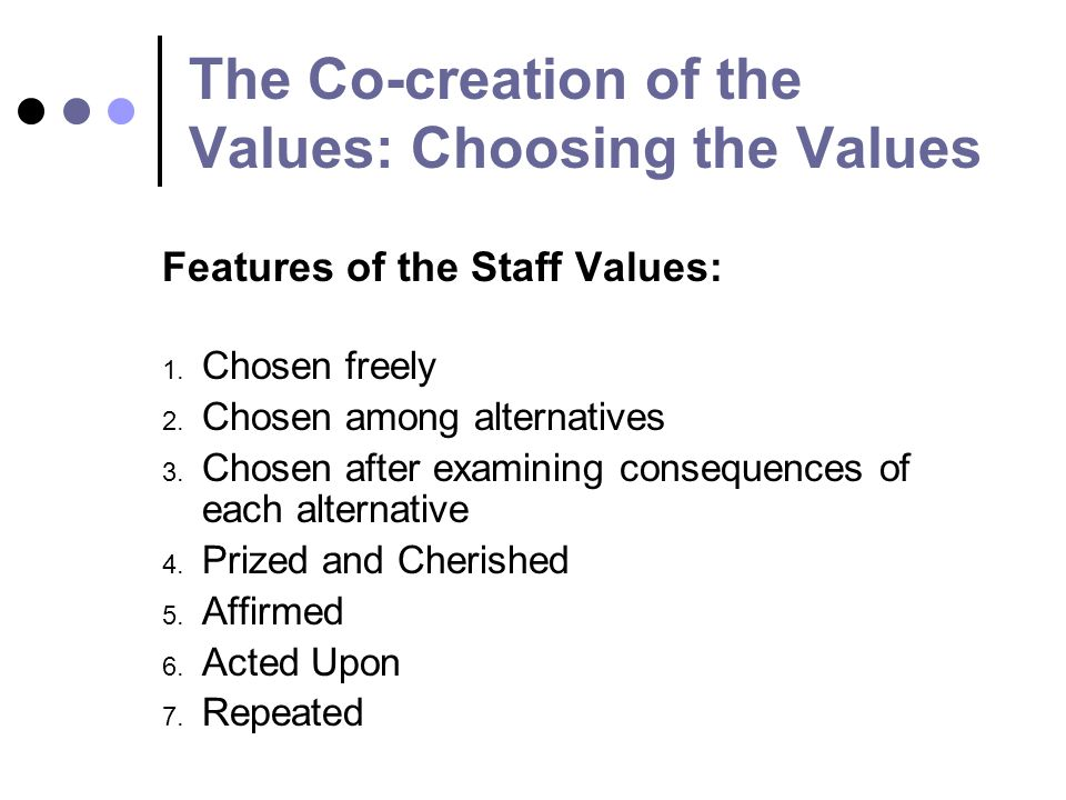 The Co-creation of the Values: Choosing the Values Features of the Staff Values: 1.