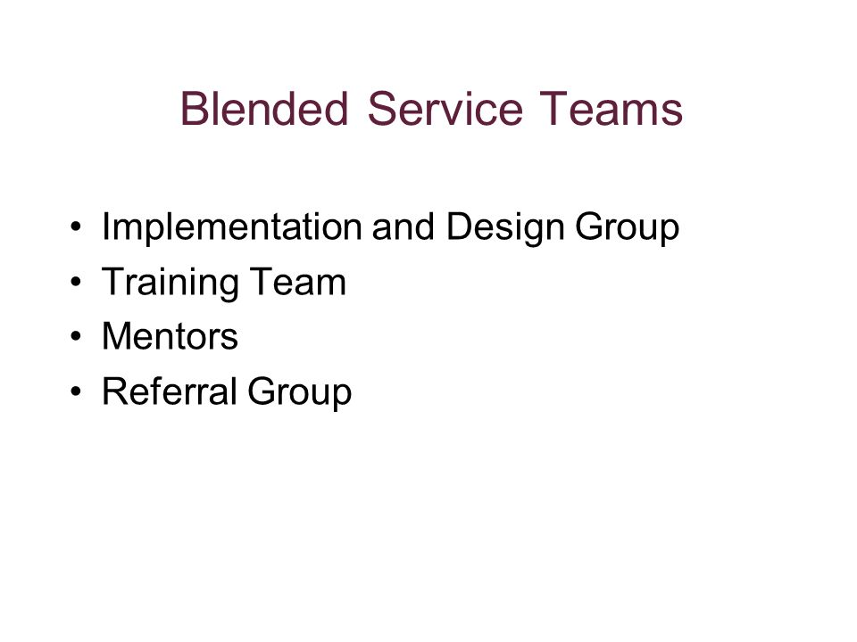 Blended Service Teams Implementation and Design Group Training Team Mentors Referral Group