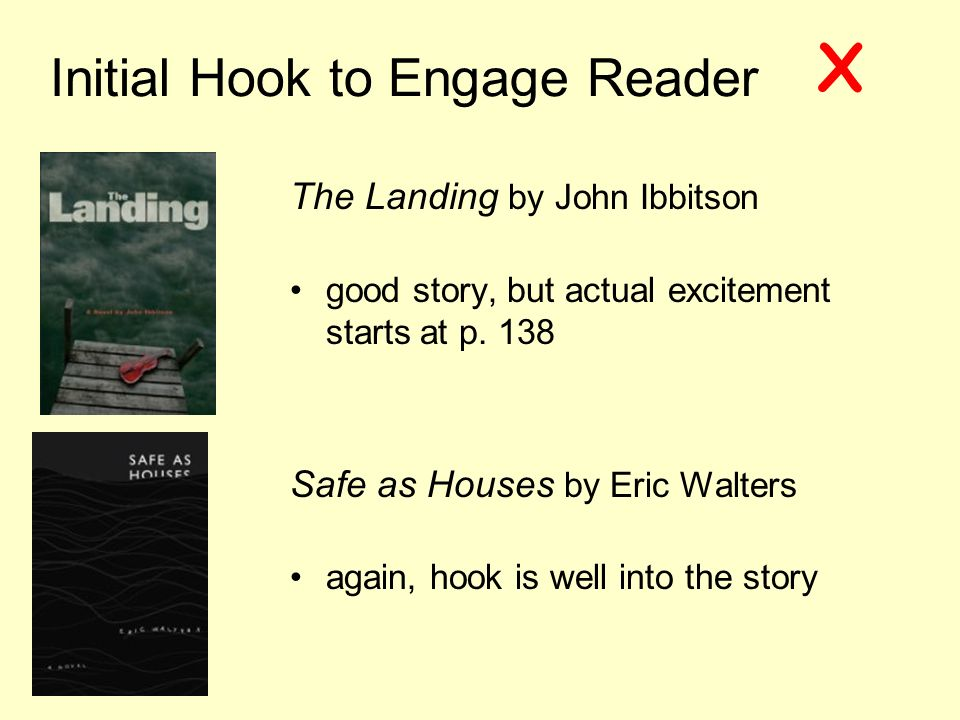 Initial Hook to Engage Reader The Landing by John Ibbitson good story, but actual excitement starts at p.