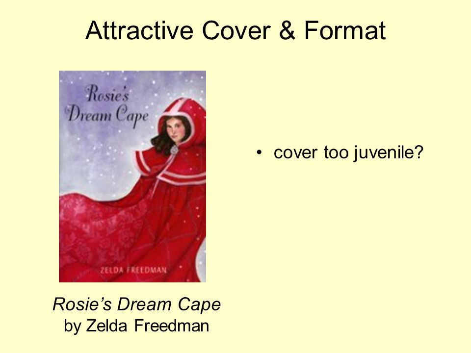 Attractive Cover & Format Rosies Dream Cape by Zelda Freedman cover too juvenile