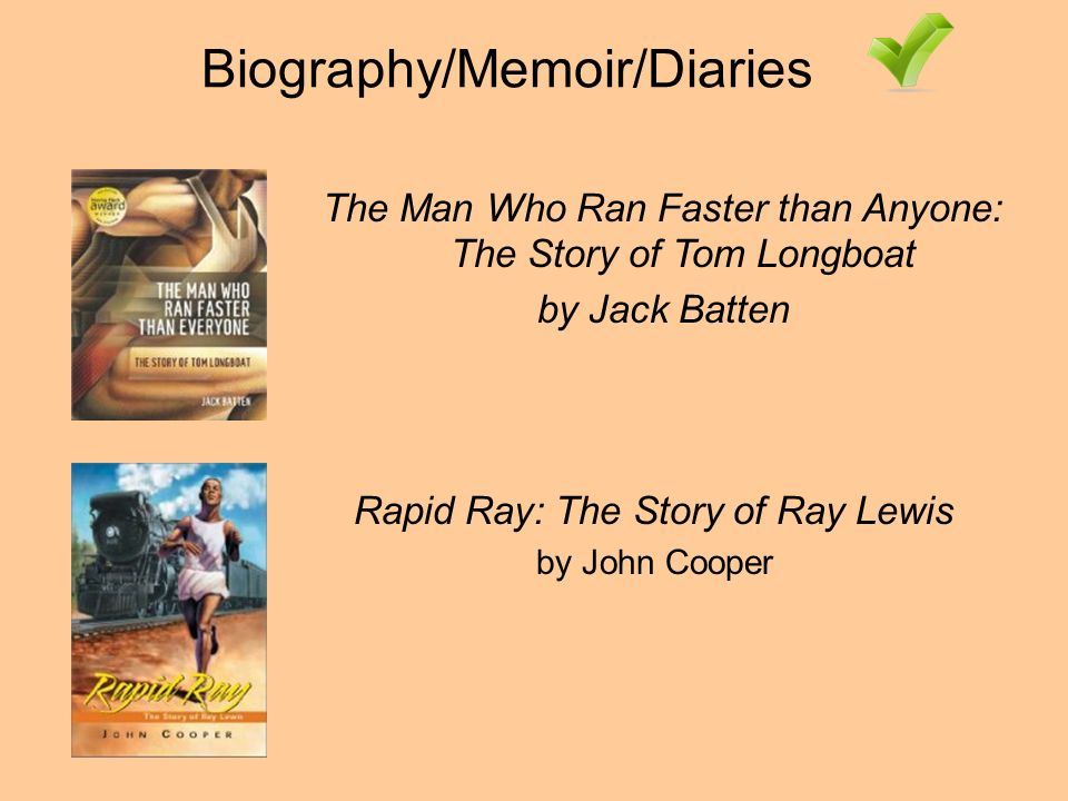 Biography/Memoir/Diaries Rapid Ray: The Story of Ray Lewis by John Cooper The Man Who Ran Faster than Anyone: The Story of Tom Longboat by Jack Batten