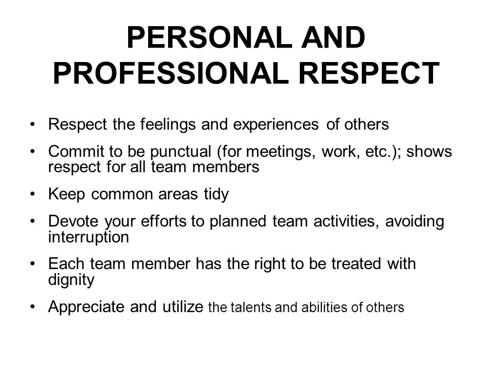 PERSONAL AND PROFESSIONAL RESPECT Respect the feelings and experiences of others Commit to be punctual (for meetings, work, etc.); shows respect for all team members Keep common areas tidy Devote your efforts to planned team activities, avoiding interruption Each team member has the right to be treated with dignity Appreciate and utilize the talents and abilities of others