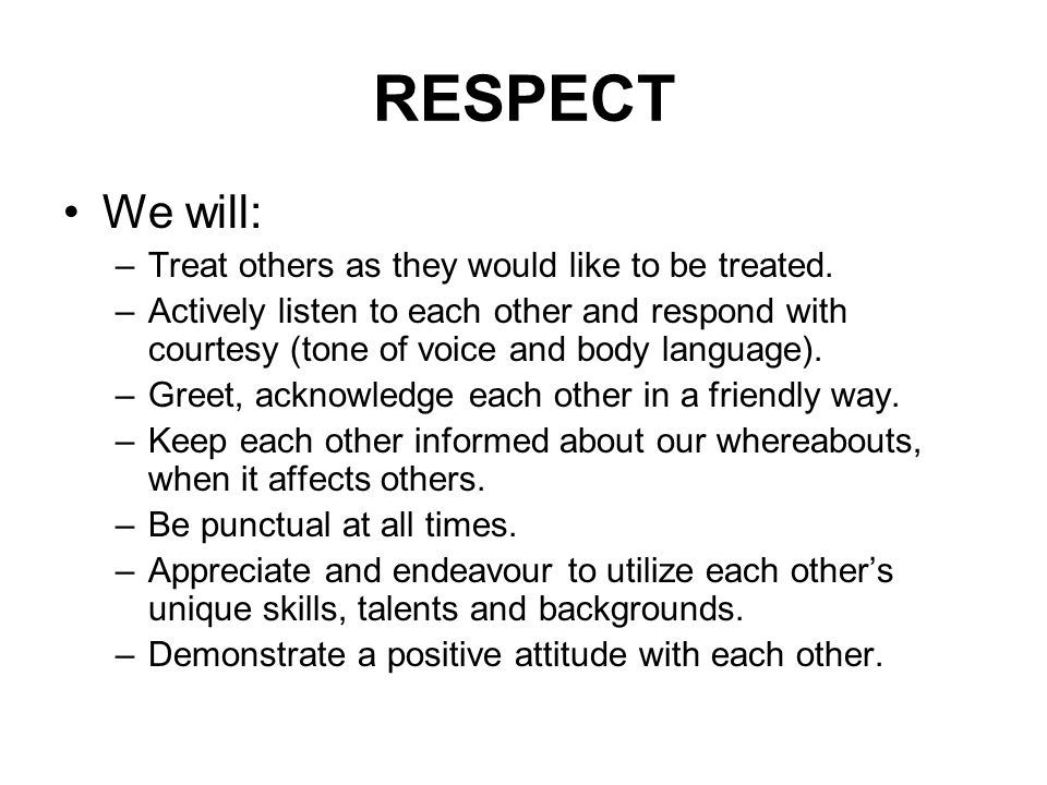 RESPECT We will: –Treat others as they would like to be treated.