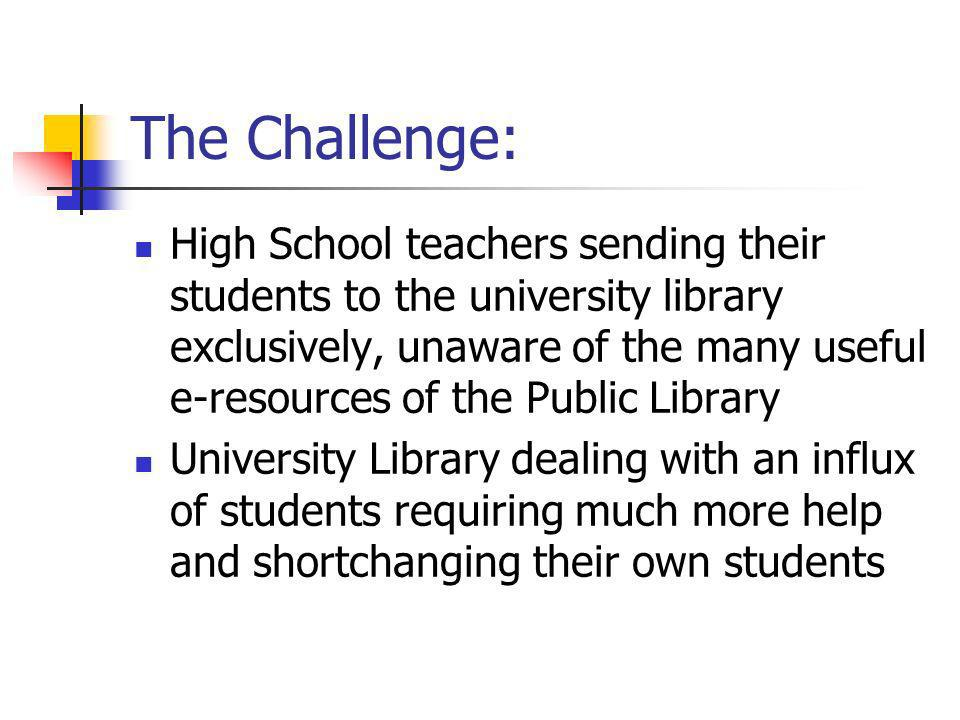 The Challenge: High School teachers sending their students to the university library exclusively, unaware of the many useful e-resources of the Public Library University Library dealing with an influx of students requiring much more help and shortchanging their own students