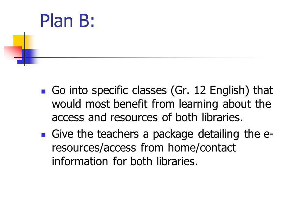 Plan B: Go into specific classes (Gr.