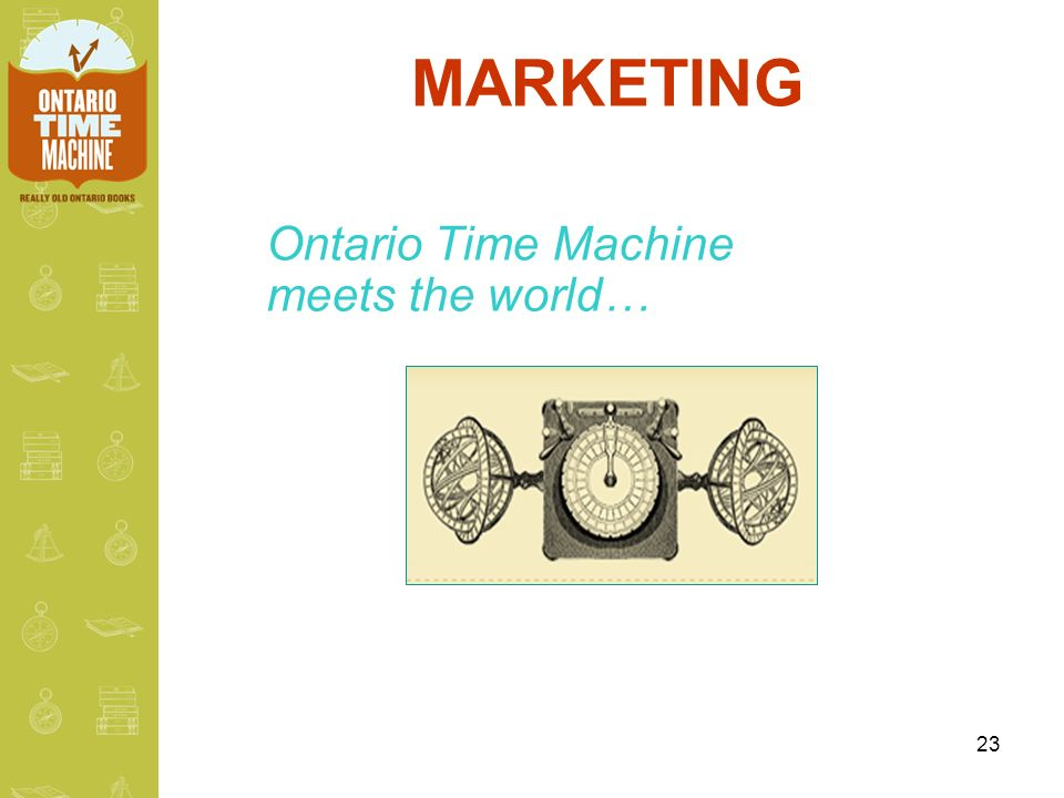 23 MARKETING Ontario Time Machine meets the world…