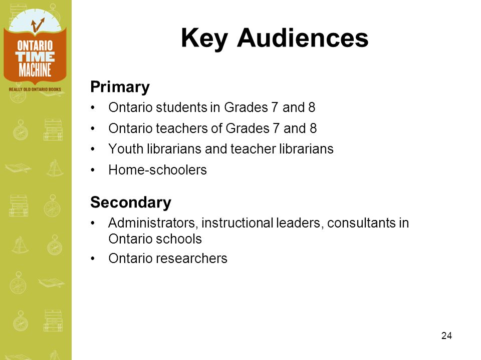 24 Key Audiences Primary Ontario students in Grades 7 and 8 Ontario teachers of Grades 7 and 8 Youth librarians and teacher librarians Home-schoolers Secondary Administrators, instructional leaders, consultants in Ontario schools Ontario researchers