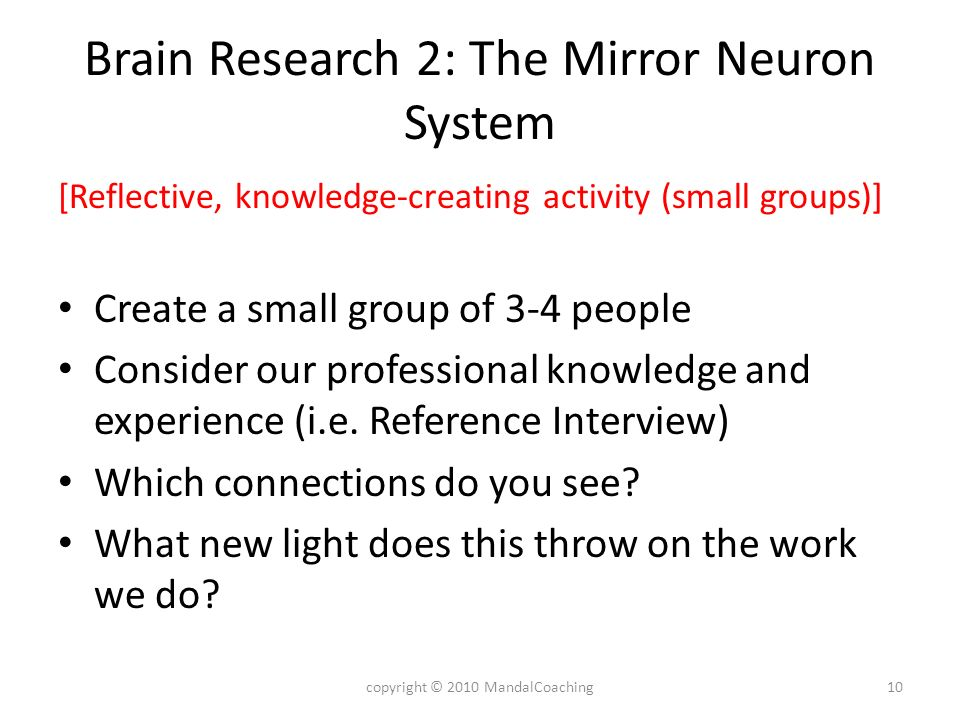 Brain Research 2: The Mirror Neuron System [Reflective, knowledge-creating activity (small groups)] Create a small group of 3-4 people Consider our professional knowledge and experience (i.e.