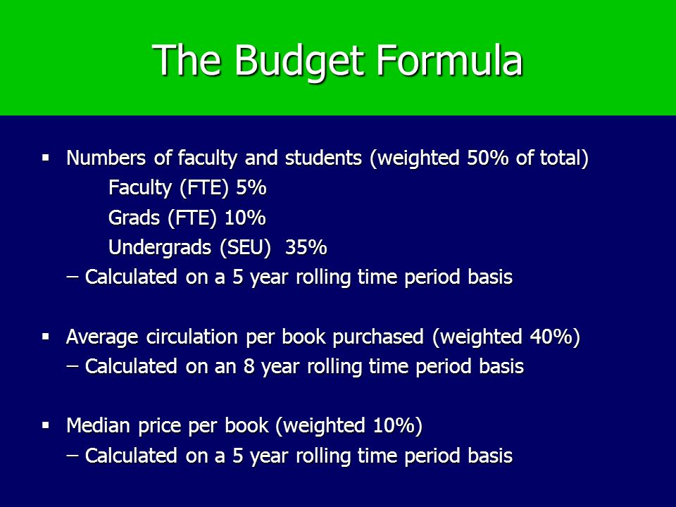 The Budget Formula Numbers of faculty and students (weighted 50% of total) Numbers of faculty and students (weighted 50% of total) Faculty (FTE) 5% Grads (FTE) 10% Undergrads (SEU) 35% ̶ Calculated on a 5 year rolling time period basis ̶ Calculated on a 5 year rolling time period basis Average circulation per book purchased (weighted 40%) Average circulation per book purchased (weighted 40%) ̶ Calculated on an 8 year rolling time period basis ̶ Calculated on an 8 year rolling time period basis Median price per book (weighted 10%) Median price per book (weighted 10%) ̶ Calculated on a 5 year rolling time period basis ̶ Calculated on a 5 year rolling time period basis