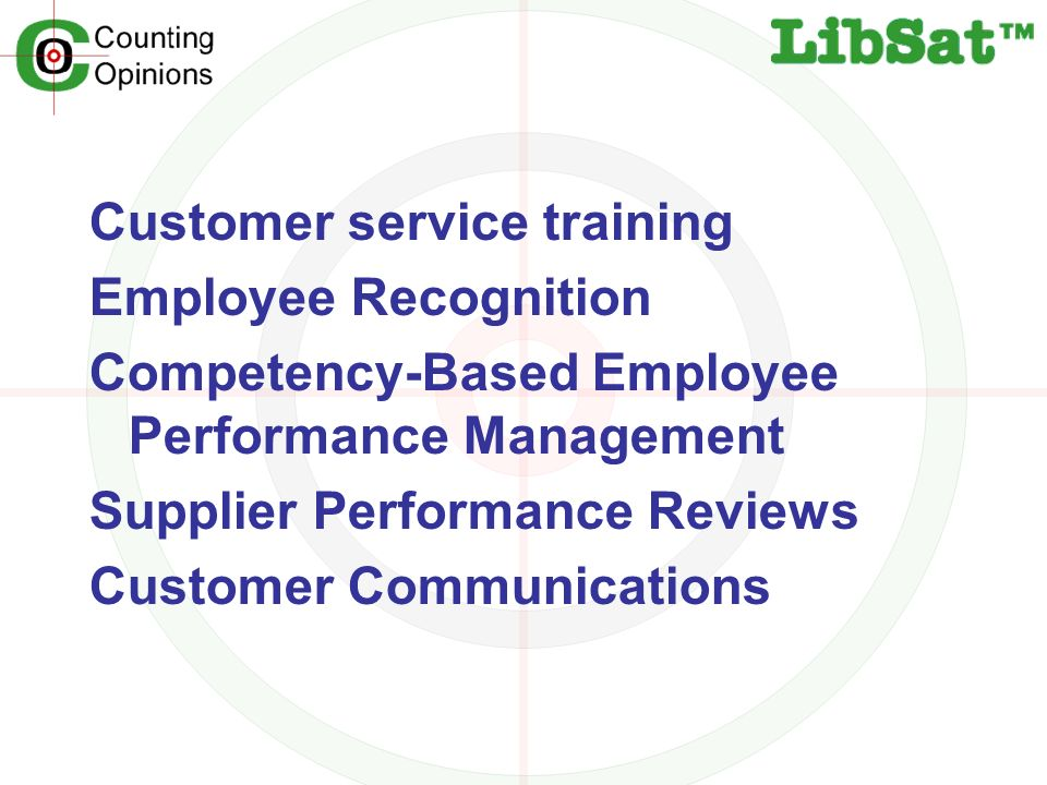 Customer service training Employee Recognition Competency-Based Employee Performance Management Supplier Performance Reviews Customer Communications