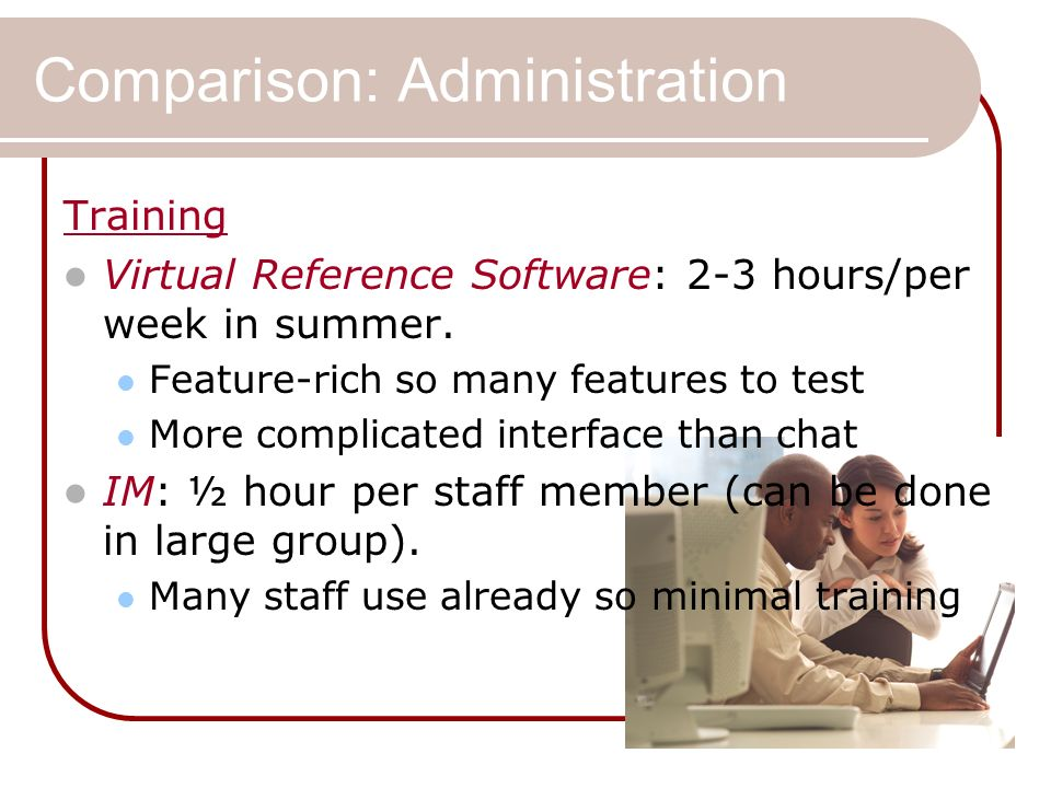 Comparison: Administration Training Virtual Reference Software: 2-3 hours/per week in summer.