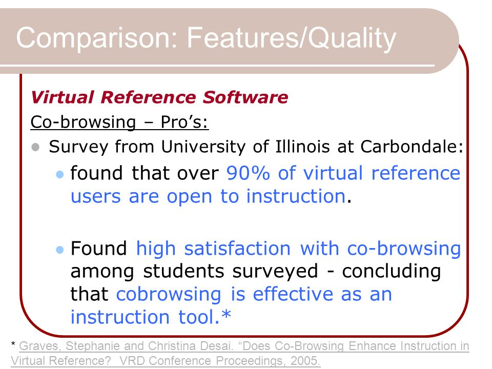 Comparison: Features/Quality Virtual Reference Software Co-browsing – Pros: Survey from University of Illinois at Carbondale: found that over 90% of virtual reference users are open to instruction.