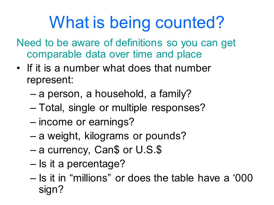 What is being Counted