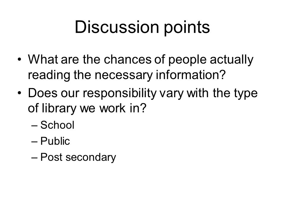 Discussion Points What are the responsibilities of reference desk staff in evaluating statistics and educating users.