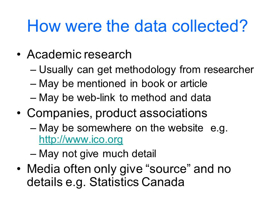 How were the data collected.