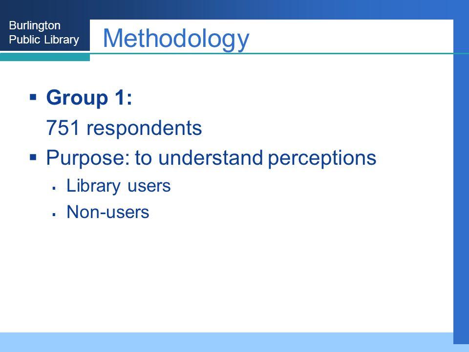 Burlington Public Library Methodology Group 1: 751 respondents Purpose: to understand perceptions Library users Non-users