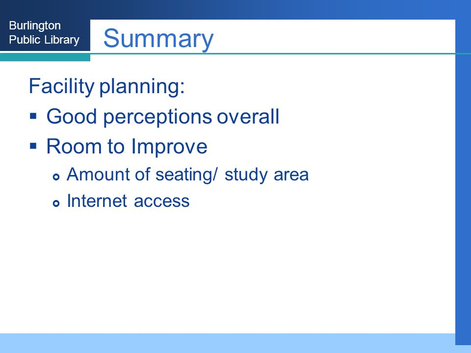 Burlington Public Library Summary Facility planning: Good perceptions overall Room to Improve Amount of seating/ study area Internet access