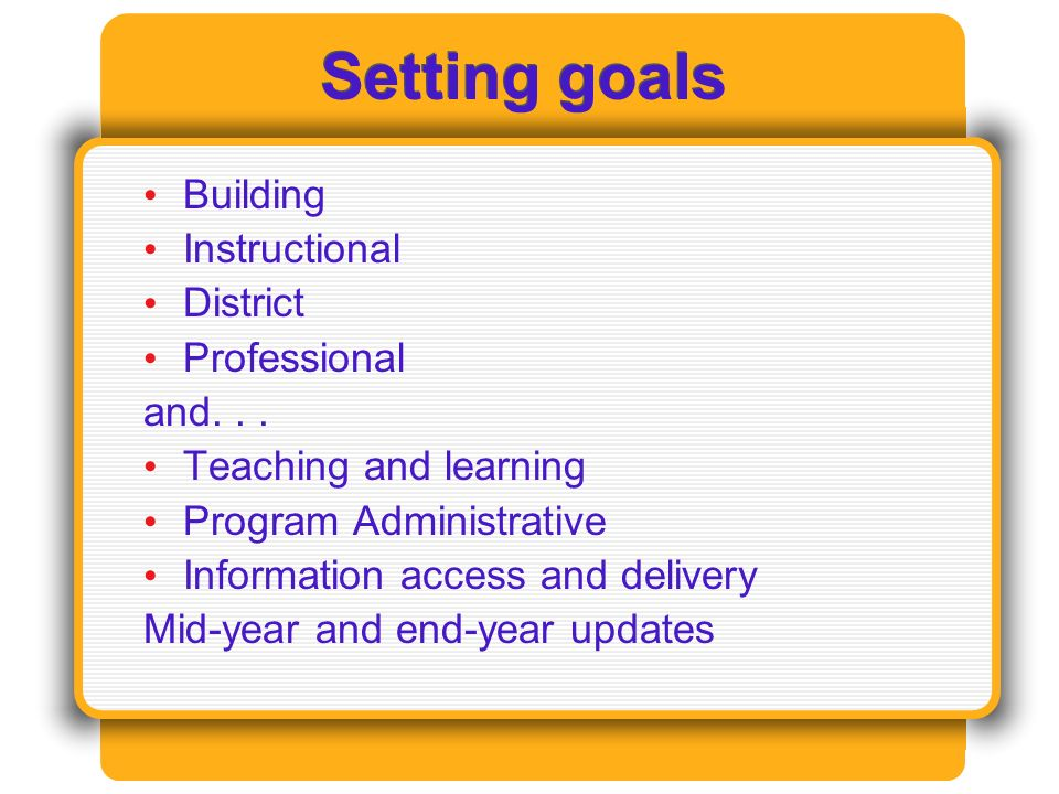 Setting goals Building Instructional District Professional and...
