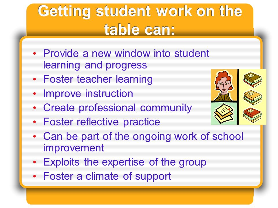 Getting student work on the table can: Provide a new window into student learning and progress Foster teacher learning Improve instruction Create professional community Foster reflective practice Can be part of the ongoing work of school improvement Exploits the expertise of the group Foster a climate of support