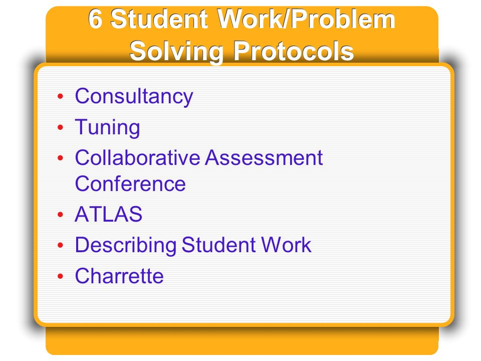 6 Student Work/Problem Solving Protocols Consultancy Tuning Collaborative Assessment Conference ATLAS Describing Student Work Charrette