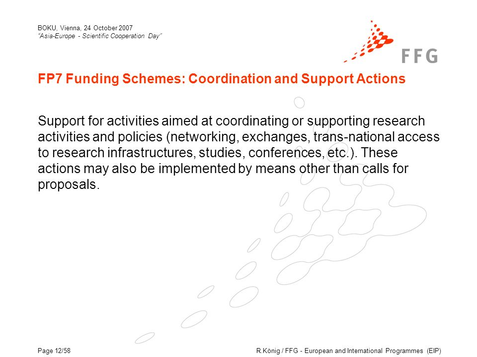 R.König / FFG - European and International Programmes (EIP) BOKU, Vienna, 24 October 2007 Asia-Europe - Scientific Cooperation Day Page 12/58 FP7 Funding Schemes: Coordination and Support Actions Support for activities aimed at coordinating or supporting research activities and policies (networking, exchanges, trans-national access to research infrastructures, studies, conferences, etc.).