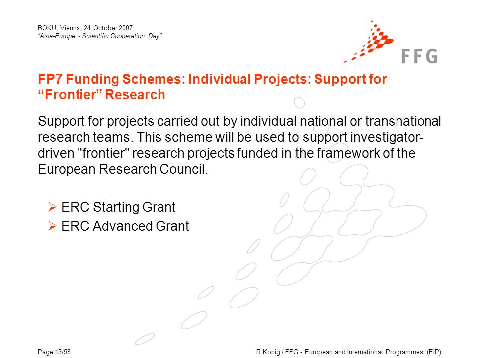 R.König / FFG - European and International Programmes (EIP) BOKU, Vienna, 24 October 2007 Asia-Europe - Scientific Cooperation Day Page 13/58 FP7 Funding Schemes: Individual Projects: Support for Frontier Research Support for projects carried out by individual national or transnational research teams.