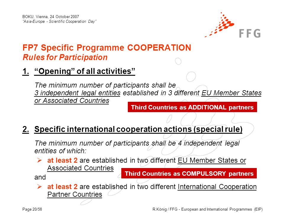 R.König / FFG - European and International Programmes (EIP) BOKU, Vienna, 24 October 2007 Asia-Europe - Scientific Cooperation Day Page 20/58 FP7 Specific Programme COOPERATION Rules for Participation 1.Opening of all activities The minimum number of participants shall be 3 independent legal entities established in 3 different EU Member States or Associated Countries 2.Specific international cooperation actions (special rule) The minimum number of participants shall be 4 independent legal entities of which: at least 2 are established in two different EU Member States or Associated Countries and at least 2 are established in two different International Cooperation Partner Countries Third Countries as ADDITIONAL partners Third Countries as COMPULSORY partners