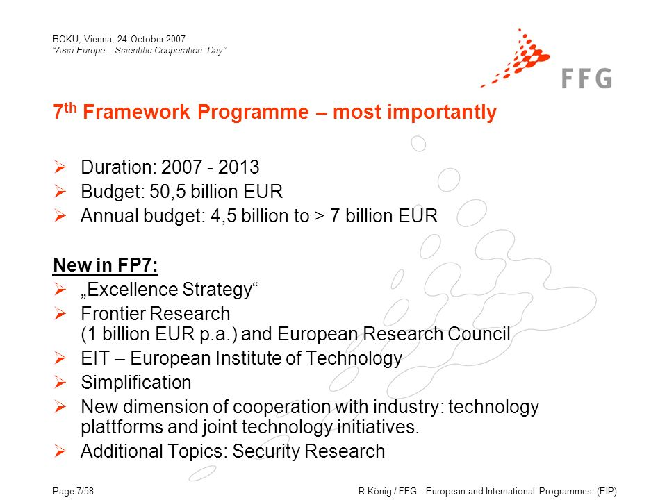 R.König / FFG - European and International Programmes (EIP) BOKU, Vienna, 24 October 2007 Asia-Europe - Scientific Cooperation Day Page 7/58 7 th Framework Programme – most importantly Duration: 2007 - 2013 Budget: 50,5 billion EUR Annual budget: 4,5 billion to > 7 billion EUR New in FP7: Excellence Strategy Frontier Research (1 billion EUR p.a.) and European Research Council EIT – European Institute of Technology Simplification New dimension of cooperation with industry: technology plattforms and joint technology initiatives.