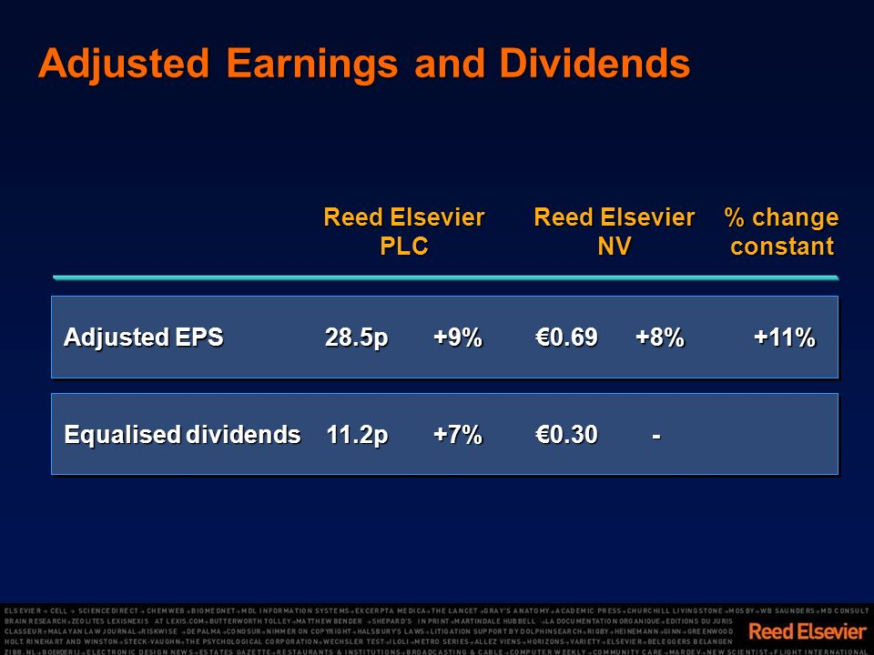 Adjusted Earnings and Dividends -0.30+7%11.2p Equalised dividends +11%+8%0.69+9%28.5p Adjusted EPS % change constant Reed Elsevier NV Reed Elsevier PLC