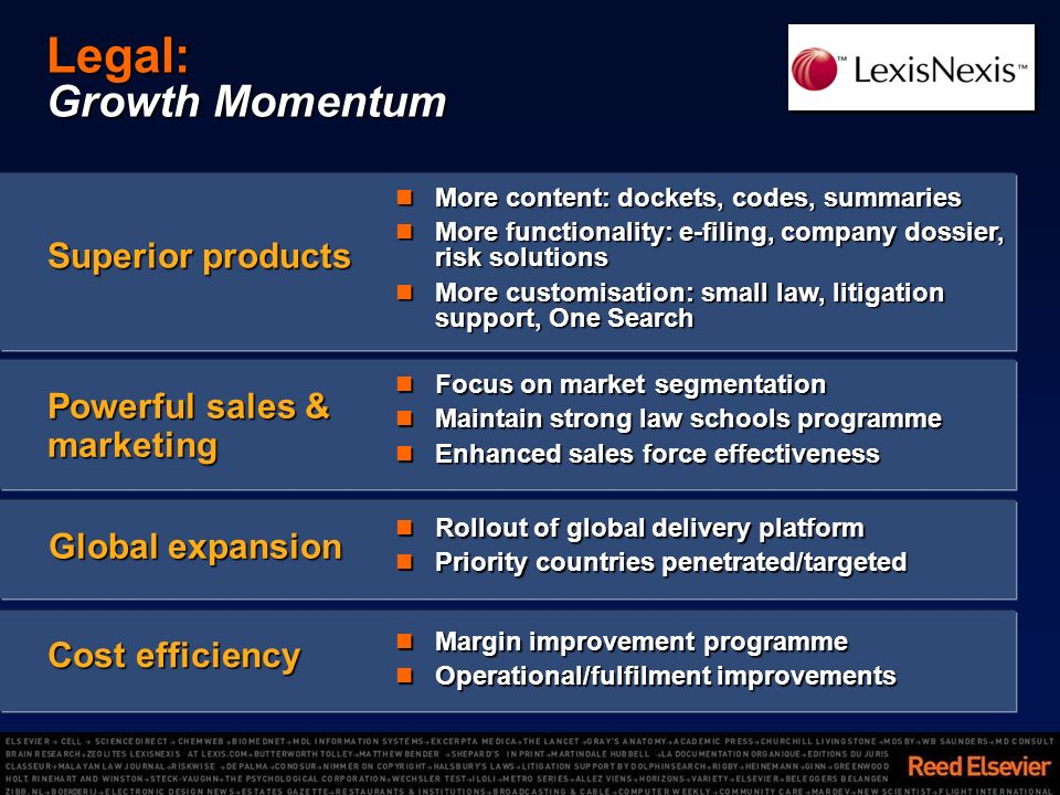 Legal: Growth Momentum More content: dockets, codes, summaries More content: dockets, codes, summaries More functionality: e-filing, company dossier, risk solutions More functionality: e-filing, company dossier, risk solutions More customisation: small law, litigation support, One Search More customisation: small law, litigation support, One Search Superior products Focus on market segmentation Focus on market segmentation Maintain strong law schools programme Maintain strong law schools programme Enhanced sales force effectiveness Enhanced sales force effectiveness Powerful sales & marketing Margin improvement programme Margin improvement programme Operational/fulfilment improvements Operational/fulfilment improvements Cost efficiency Global expansion Rollout of global delivery platform Rollout of global delivery platform Priority countries penetrated/targeted Priority countries penetrated/targeted