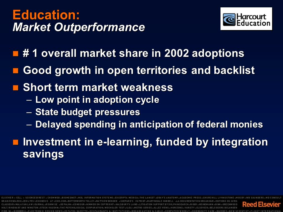 Education: Market Outperformance # 1 overall market share in 2002 adoptions # 1 overall market share in 2002 adoptions Good growth in open territories and backlist Good growth in open territories and backlist Short term market weakness Short term market weakness –Low point in adoption cycle –State budget pressures –Delayed spending in anticipation of federal monies Investment in e-learning, funded by integration savings Investment in e-learning, funded by integration savings