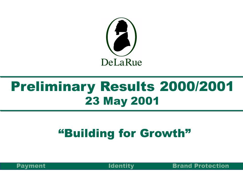 Preliminary Results 2000/2001 23 May 2001 Building for Growth PaymentBrand Protection Identity