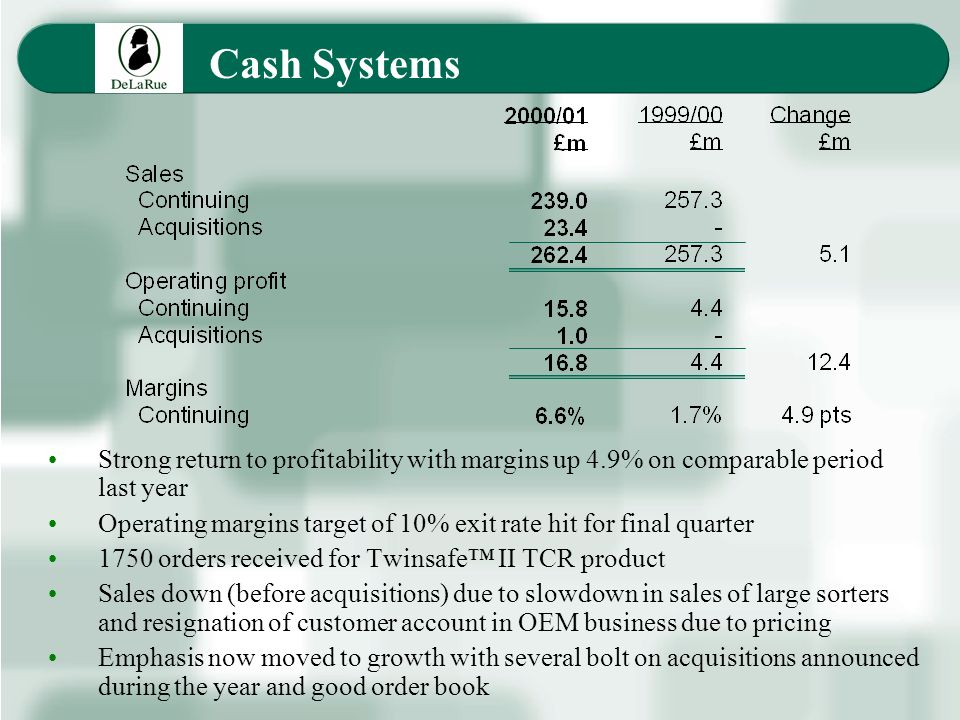 Cash Systems Strong return to profitability with margins up 4.9% on comparable period last year Operating margins target of 10% exit rate hit for final quarter 1750 orders received for Twinsafe II TCR product Sales down (before acquisitions) due to slowdown in sales of large sorters and resignation of customer account in OEM business due to pricing Emphasis now moved to growth with several bolt on acquisitions announced during the year and good order book