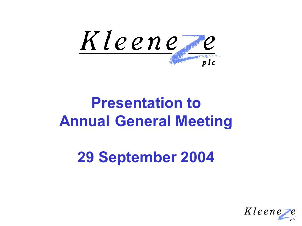 Presentation to Annual General Meeting 29 September 2004