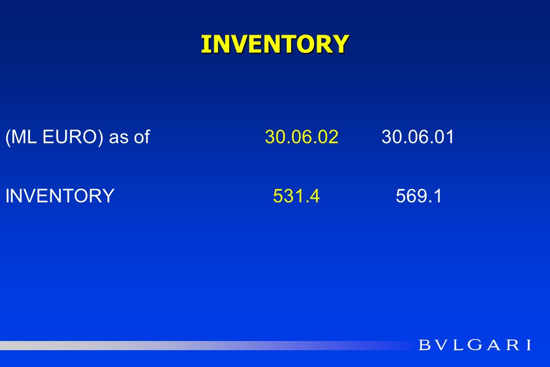 INVENTORY (ML EURO) as of 30.06.0230.06.01 INVENTORY531.4569.1