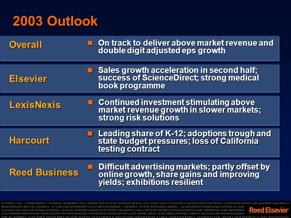 2003 Outlook On track to deliver above market revenue and double digit adjusted eps growth On track to deliver above market revenue and double digit adjusted eps growth Overall Sales growth acceleration in second half; success of ScienceDirect; strong medical book programme Sales growth acceleration in second half; success of ScienceDirect; strong medical book programme Elsevier Leading share of K-12; adoptions trough and state budget pressures; loss of California testing contract Leading share of K-12; adoptions trough and state budget pressures; loss of California testing contract Harcourt LexisNexis Continued investment stimulating above market revenue growth in slower markets; strong risk solutions Continued investment stimulating above market revenue growth in slower markets; strong risk solutions Difficult advertising markets; partly offset by online growth, share gains and improving yields; exhibitions resilient Difficult advertising markets; partly offset by online growth, share gains and improving yields; exhibitions resilient Reed Business