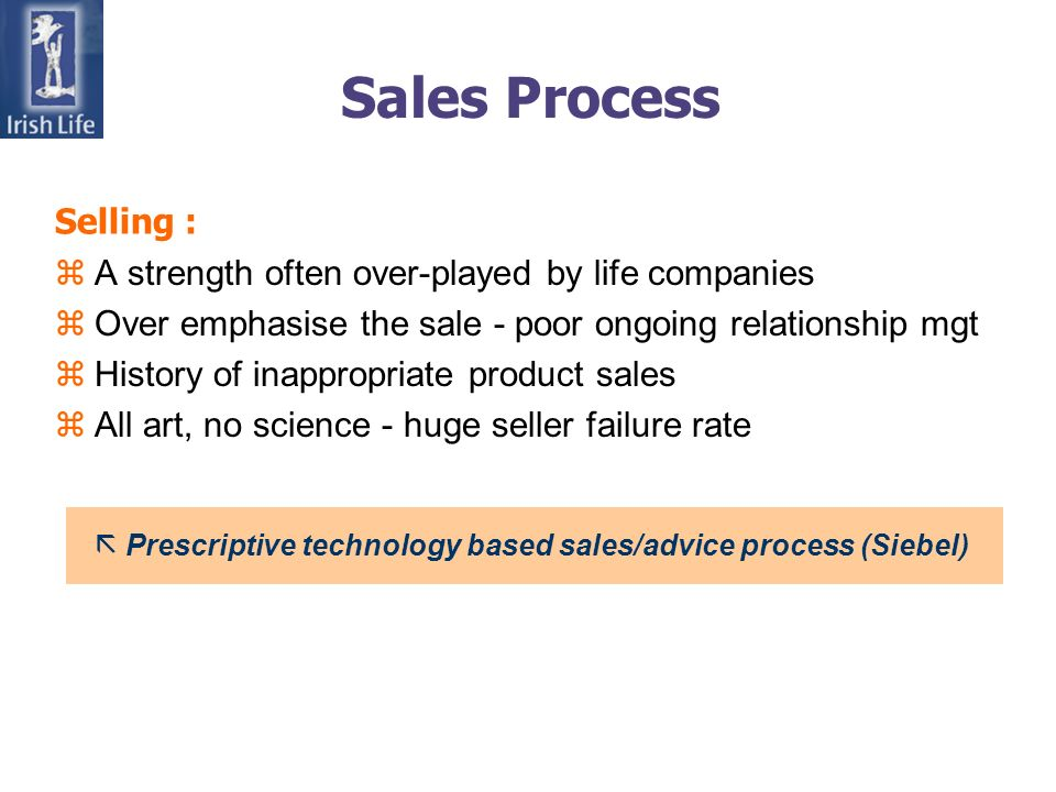 Sales Process zA strength often over-played by life companies zOver emphasise the sale - poor ongoing relationship mgt zHistory of inappropriate product sales zAll art, no science - huge seller failure rate ã Prescriptive technology based sales/advice process (Siebel) Selling :