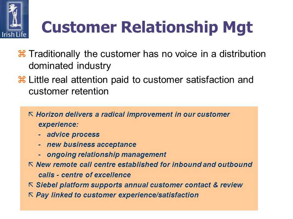 Customer Relationship Mgt zTraditionally the customer has no voice in a distribution dominated industry zLittle real attention paid to customer satisfaction and customer retention ã Horizon delivers a radical improvement in our customer experience: - advice process - new business acceptance - ongoing relationship management ã New remote call centre established for inbound and outbound calls - centre of excellence ã Siebel platform supports annual customer contact & review ã Pay linked to customer experience/satisfaction