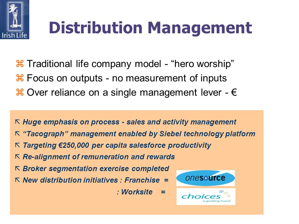 Distribution Management zTraditional life company model - hero worship zFocus on outputs - no measurement of inputs zOver reliance on a single management lever - ã Huge emphasis on process - sales and activity management ã Tacograph management enabled by Siebel technology platform ã Targeting 250,000 per capita salesforce productivity ã Re-alignment of remuneration and rewards ã Broker segmentation exercise completed ã New distribution initiatives : Franchise = : Worksite =