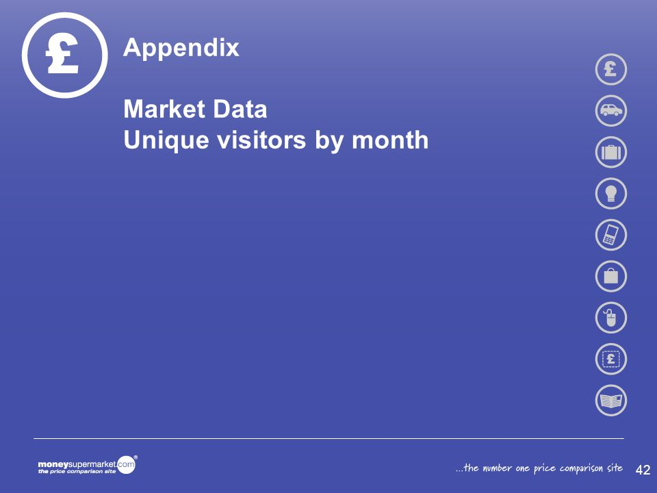 Appendix Market Data Unique visitors by month 42