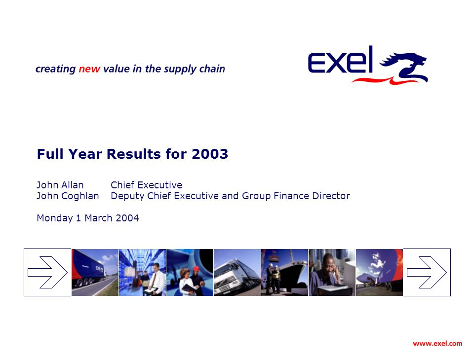 Full Year Results for 2003 John AllanChief Executive John CoghlanDeputy Chief Executive and Group Finance Director Monday 1 March 2004