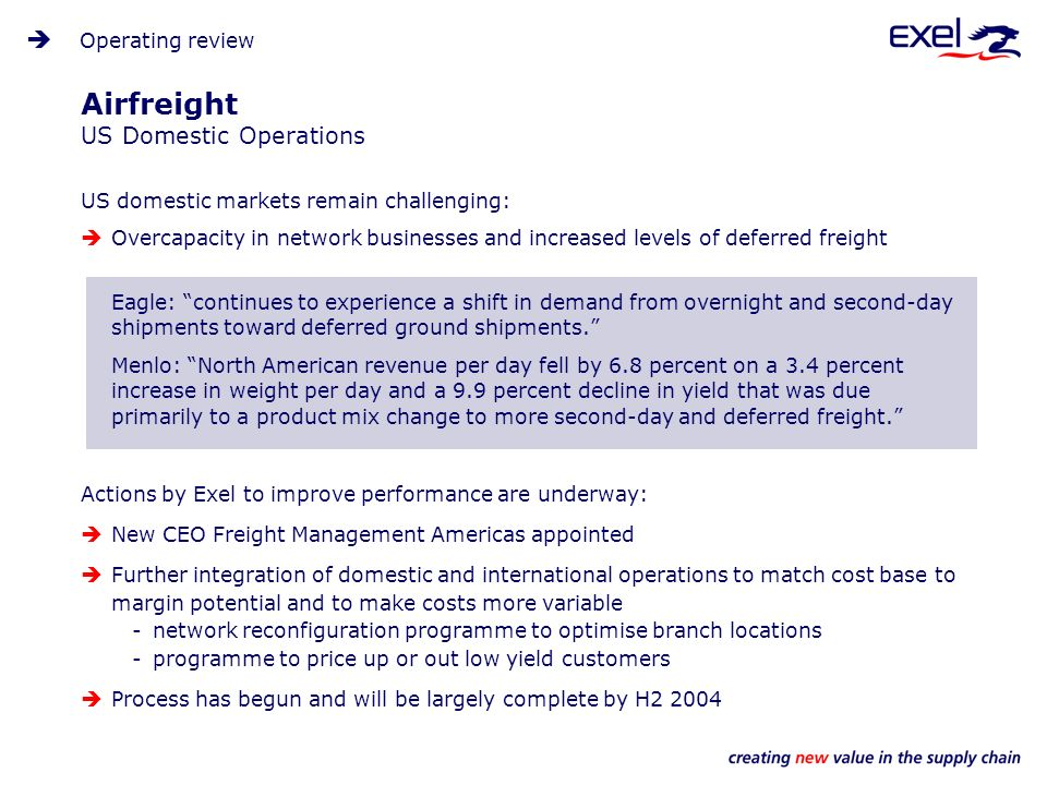 Airfreight US Domestic Operations US domestic markets remain challenging: Overcapacity in network businesses and increased levels of deferred freight Eagle: continues to experience a shift in demand from overnight and second-day shipments toward deferred ground shipments.