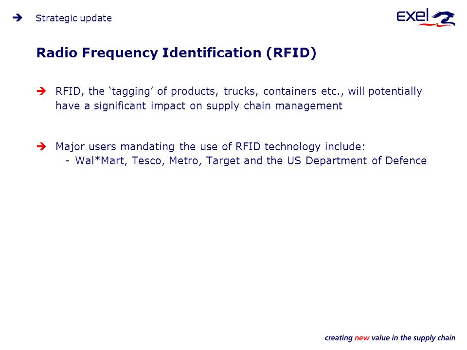 Radio Frequency Identification (RFID) Strategic update RFID, the tagging of products, trucks, containers etc., will potentially have a significant impact on supply chain management Major users mandating the use of RFID technology include: -Wal*Mart, Tesco, Metro, Target and the US Department of Defence