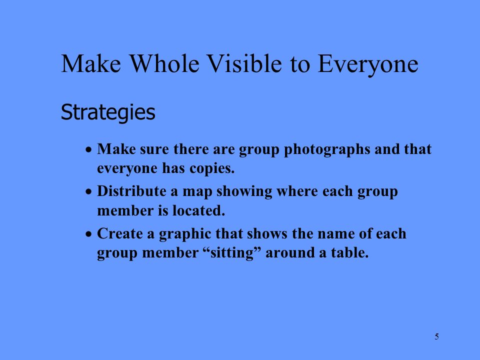 5 Make Whole Visible to Everyone Strategies Make sure there are group photographs and that everyone has copies.