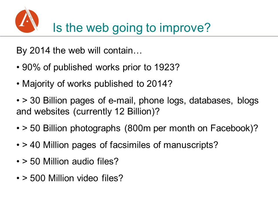 Is the web going to improve. By 2014 the web will contain… 90% of published works prior to 1923.