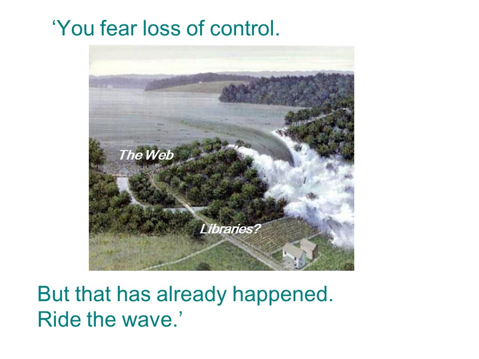 You fear loss of control. Libraries The Web But that has already happened. Ride the wave.