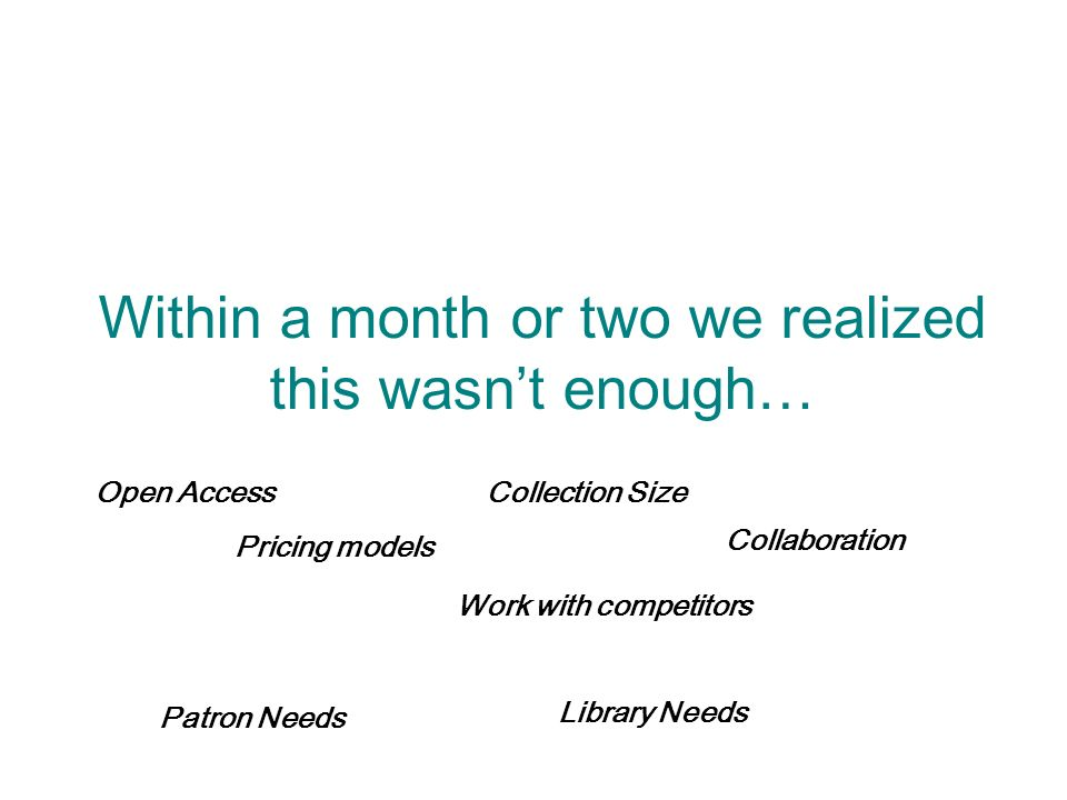Within a month or two we realized this wasnt enough… Open AccessCollection Size Patron Needs Pricing models Collaboration Library Needs Work with competitors