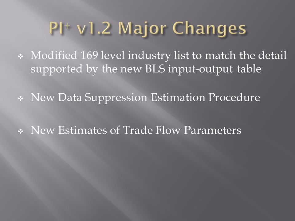 Modified 169 level industry list to match the detail supported by the new BLS input-output table New Data Suppression Estimation Procedure New Estimates of Trade Flow Parameters